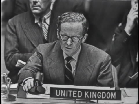 england's representative to the united nations security council selwyn lloyd discusses russian intervention in hungary and the u.n. emergency forces... - united states and (politics or government) stock videos & royalty-free footage