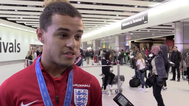 england's under 17 world cup winning squad arrive home after winning the world cup in india manager steve cooper and team captain joel latibeaudiere... - jugendmannschaft stock-videos und b-roll-filmmaterial