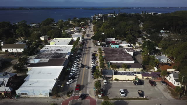 englewood florida village and farmers market aerial - southern usa stock videos & royalty-free footage