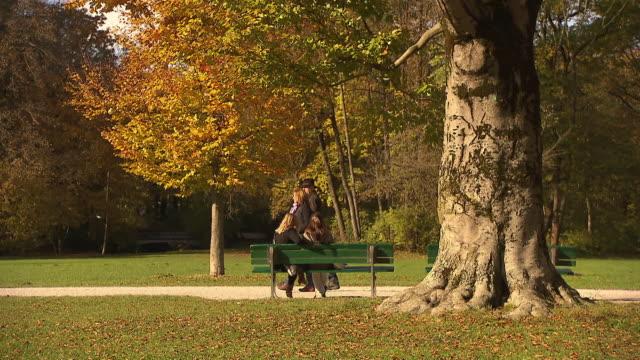 englischer garten, autumn,  lawn, two women sitting on a bench, walking couple - ミュンヘン エングリッシャーガルテン点の映像素材/bロール