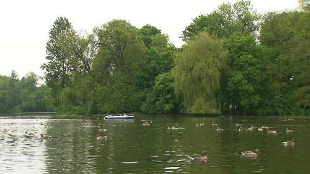 englischer garten - seehaus, lake, a boat swimming on the lake, trees, ducks, cloudy - ミュンヘン エングリッシャーガルテン点の映像素材/bロール
