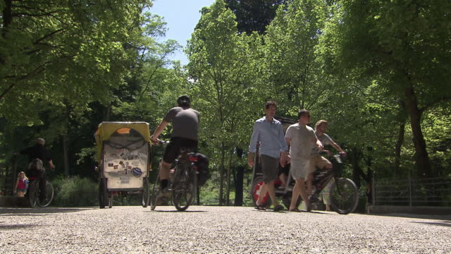 englischer garten, walking  people, people with bike, trees, summer, blue sky - risciò video stock e b–roll