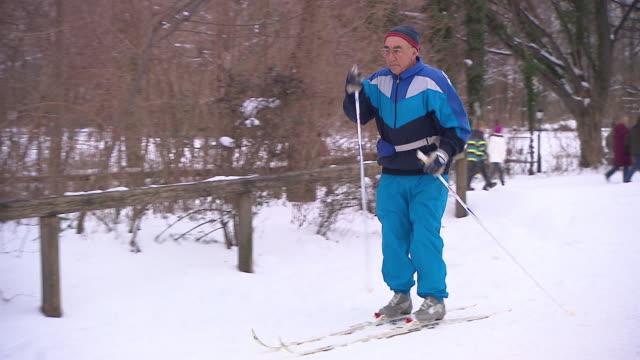 englischer garten, winter, man with ski, people, snow - ミュンヘン エングリッシャーガルテン点の映像素材/bロール