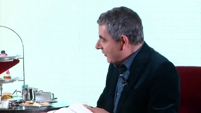 english actor rowan atkinson interviewed during tea as he promotes his film 'johnny english strikes again' on november 1 2018 in shanghai china - ローワン アトキンソン点の映像素材/bロール