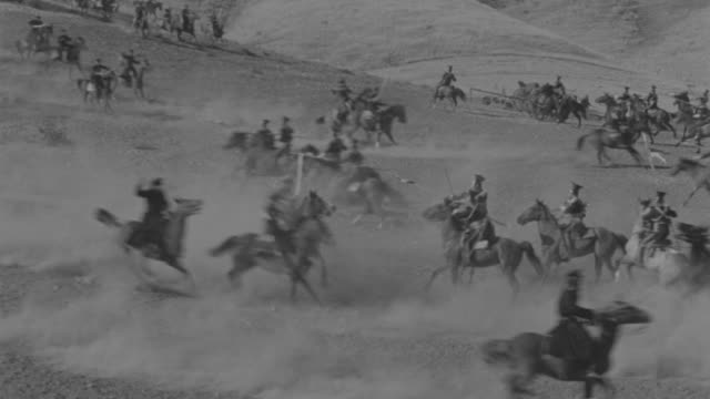 ws pan english and russian calvary attacking each other on horseback  - cavalry stock videos & royalty-free footage