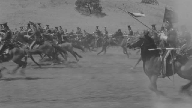 MS POV PAN English and Russian Calvary attacking each other on horseback