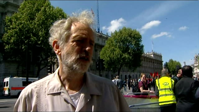 English Defence League march through central London Counter demonstration ENGLAND London Whitehall EXT General views of protesters gathering / Unite...