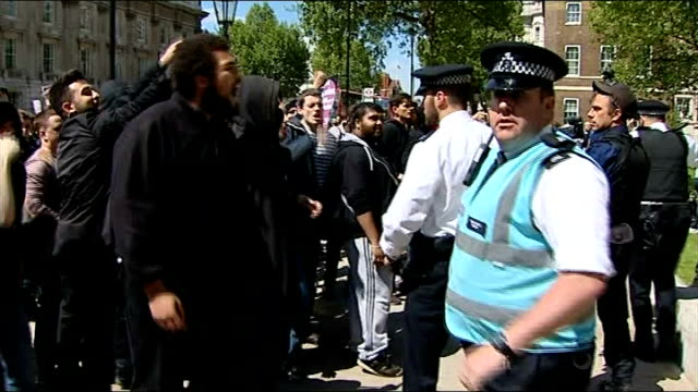 english defence league march through central london counter demonstration england london whitehall ext people antifascists / unite against fascism... - lee rigby stock videos & royalty-free footage
