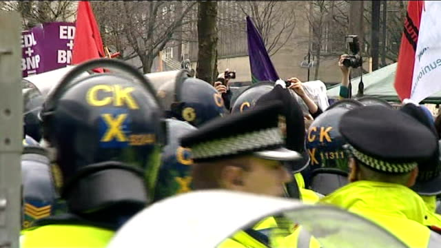 English Defence League rally clash with antifascist protesters ENGLAND Lancashire Bolton EXT GVs of English Defence League rally and Greater...