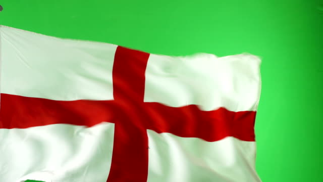 4K: English England Flag on green screen, Real video, not CGI