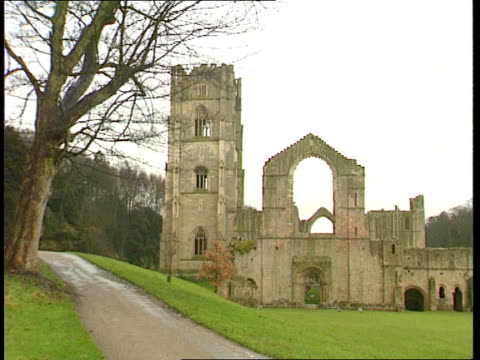 'privatisation plans' monks fountain's abbey gv abbey pull out ms men working on walls from scaffolding cs chisel as being hammered between stones... - chisel stock videos and b-roll footage