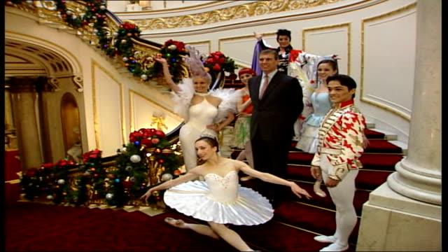english national ballet take tea at buckingham palace england london buckingham palace prince andrew duke of york poses with members of english... - ballet dancing stock videos & royalty-free footage