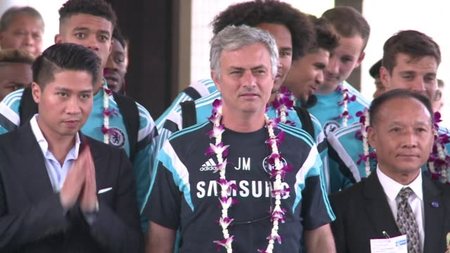 english premier league football champions chelsea arrived in bangkok ahead of an exhibition match saturday against the thailand all stars - touch football stock videos & royalty-free footage