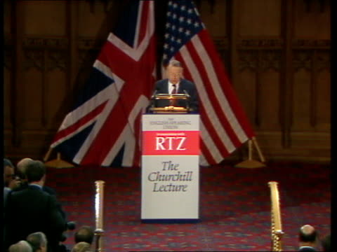 reagan address 04 sky england london the guildhall int 0240 lord francis pym former foreign secretary addressing english speaking union ronald reagan... - hungary stock videos & royalty-free footage