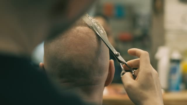 english style barber shop action - human hair stock videos & royalty-free footage