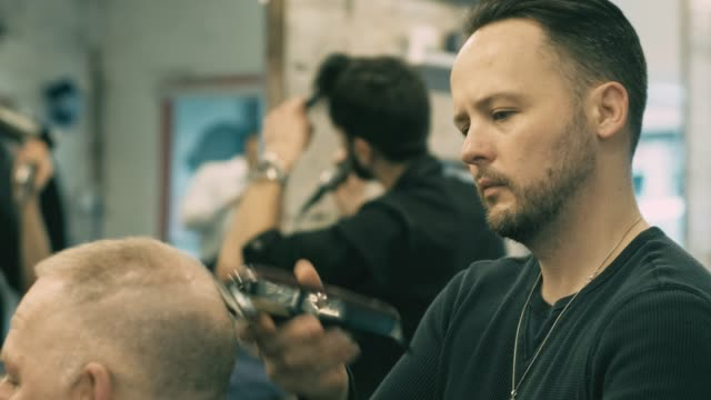 english style barber shop action - ontario canada stock videos and b-roll footage