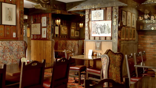 ws ts english style traditional restaurant decor with etchings and art on the walls - abandoned stock videos & royalty-free footage