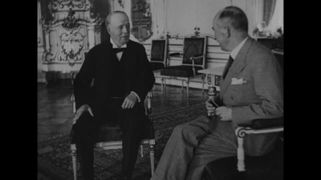 english viscount runciman of doxford talking with president of czechoslovakia edvard benes during meeting at prague castle to discuss german claims... - フラッチャニ城点の映像素材/bロール