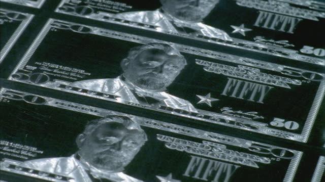 CU, TU, Engraved chrome plate of American fifty dollar bills, Washington DC, USA