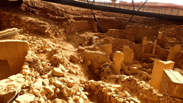 Engravings are seen on a TShaped pillar at the Gobekli Tepe archaeology site on September 18 2018 in Sanliurfa Turkey Since it's discovery The...
