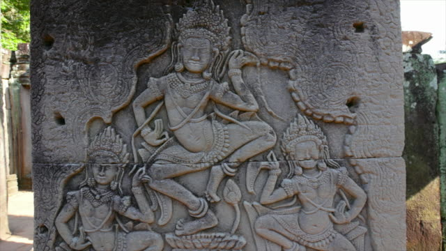Engravings on a rock and temple