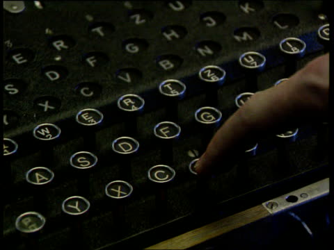 enigma coding machine stolen lib cs keys on enigma machine pressed letters on display lighting up cs cogs on machine turning - enigma machine stock videos & royalty-free footage