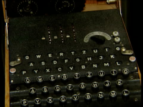 imperial war museum display about german uboats tilt down cs notes attached to enigma machine tilt penny ritchie calder interview sot talks of... - enigma machine stock videos & royalty-free footage