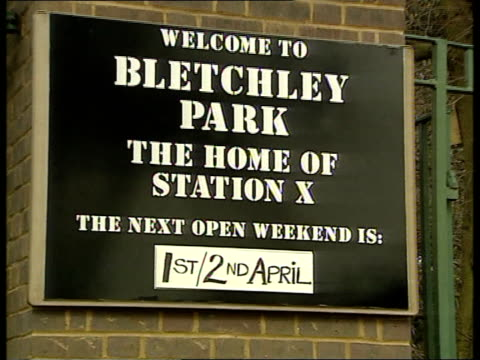 enigma machine stolen from bletchley park england bletchley park sign 'next open weekend 1st/2nd april' pull out to bletchley park sign lms bletchley... - enigma machine stock videos & royalty-free footage