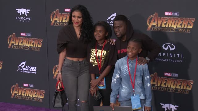 Eniko Parrish Heaven Hart Kevin Hart and Hendrix Hart at the Avengers Infinity War World Premiere on April 23 2018 in Hollywood California