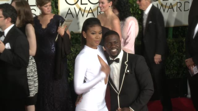 eniko parrish, kevin hart at the 72nd annual golden globe awards - arrivals at the beverly hilton hotel on january 11, 2015 in beverly hills,... - the beverly hilton hotel stock-videos und b-roll-filmmaterial