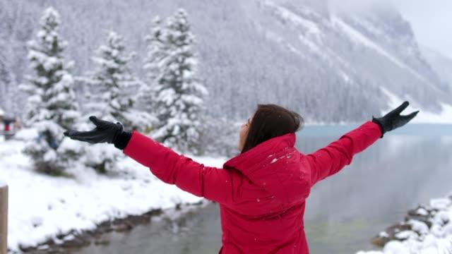vídeos de stock, filmes e b-roll de aproveite a nevar - canadá