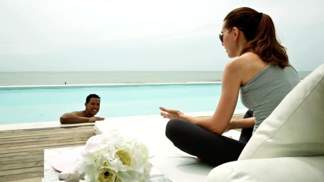 enjoy swimming pool - tourist resort stock videos & royalty-free footage