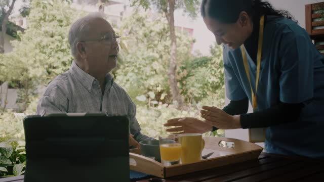 enjoy your breakfast sir. - 70 79 years stock videos & royalty-free footage