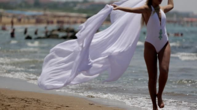 enjoying a beautiful beach - tulle stock videos and b-roll footage