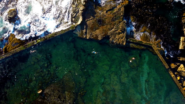 enjoying a swim in the tidal pool - tidal pool stock videos and b-roll footage