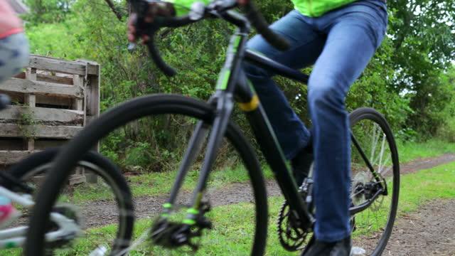 enjoying family time - bicycle seat stock videos & royalty-free footage