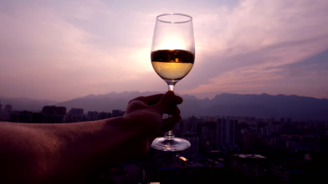 enjoying glass of wine in the city - white wine stock videos & royalty-free footage