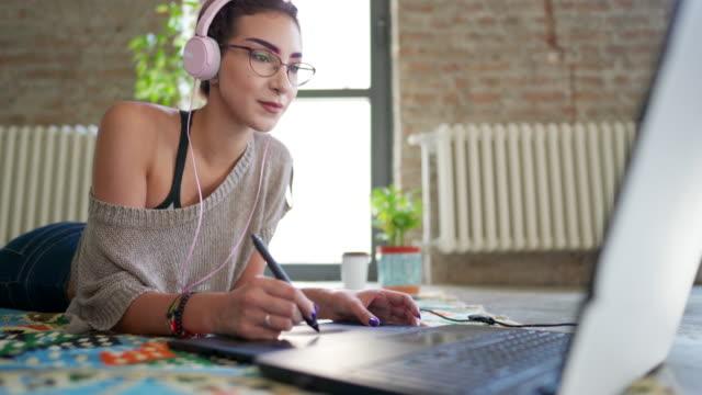 enjoying her job - freelance work stock videos & royalty-free footage