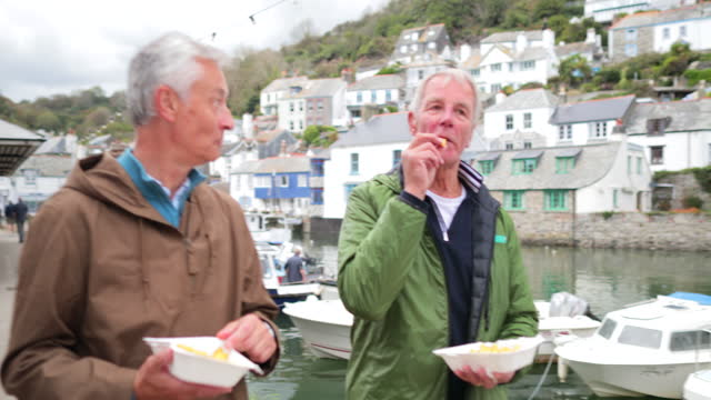 enjoying our fish and chips - village stock videos & royalty-free footage
