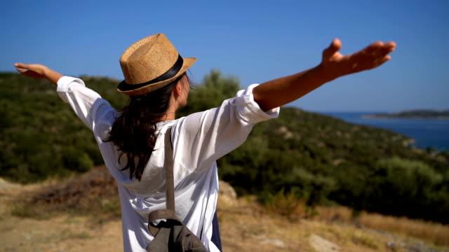 vídeos de stock, filmes e b-roll de apreciando o ponto de vista do beira-mar - mãos estendidas