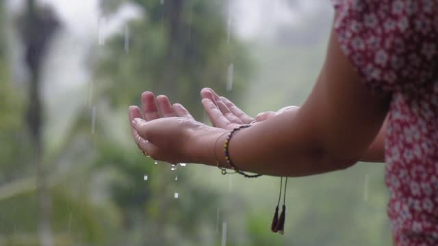 enjoying summer rain. reaching for water drops - indonesia stock videos & royalty-free footage