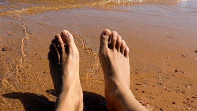enjoying the sea - human toe stock videos and b-roll footage