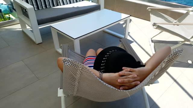 enjoying the vista - deck chair stock videos & royalty-free footage