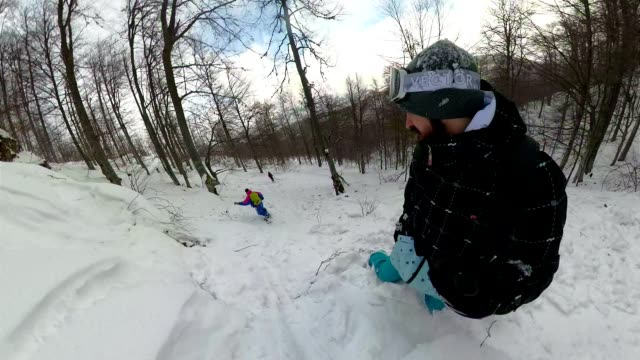 enjoying the winter vacation - snowboard stock videos and b-roll footage