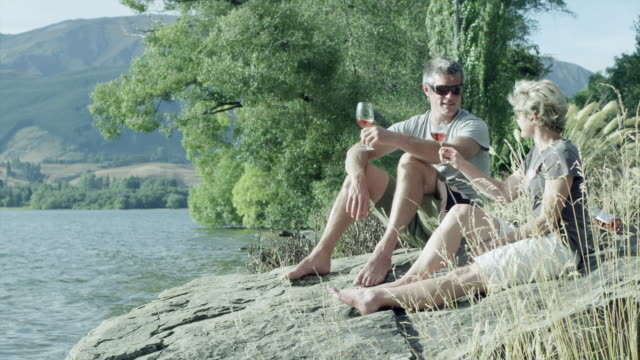 enjoying wine by the lakeside - rose wine stock videos and b-roll footage