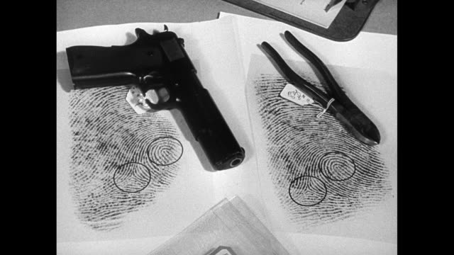 stockvideo's en b-roll-footage met 'the stuart case' enlarged fingerprint examples sitting by 9mm pistol wire cutters hand pointing out circles matching print lines - pistool handwapen