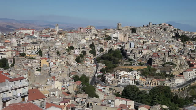 enna, general view of the city from  the tower of frederic ii  - sicily stock videos and b-roll footage