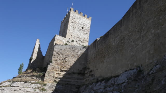 enna, the lombardy castle, main entrance - castle wall stock videos and b-roll footage