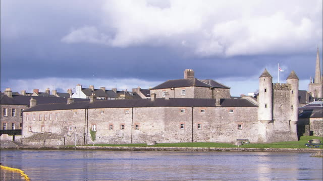 enniskillen castle with turrets and moat, northern ireland - moat stock videos & royalty-free footage