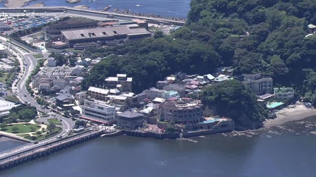 aerial, enoshima island, kanagawa, japan - 相模湾点の映像素材/bロール